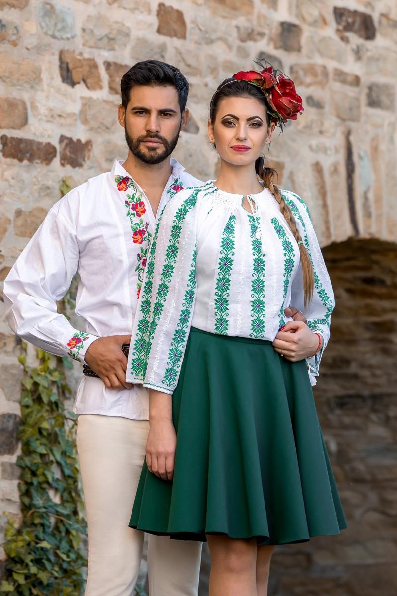 Ie romaneasca maneca lunga Floare de Spanz lucrata manual zona Muntenia