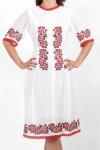 Rochie traditionala stilizata model Trandafirul dantela rosie